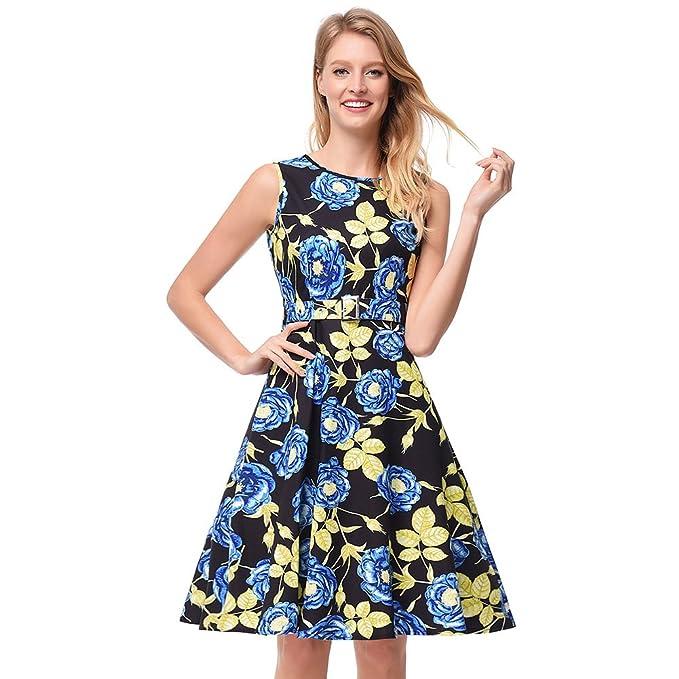 antaina Estampado Floral Azul Vintage 50S Una Línea Vestido de Fiesta Dulce Patinador Skater Mujeres,