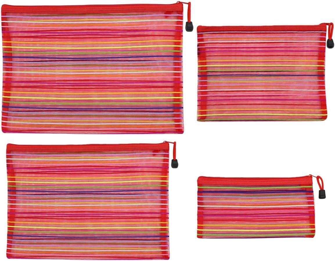 Zipper Mesh Pouch,Aimeio Colorful Nylon Doucment Bag Invoice Holder Bag File Folder Organizer Pen Pencil Case Comestic Makeup Bag Travel Accessories,A4,A5,B5,B6 Size,4 Pack