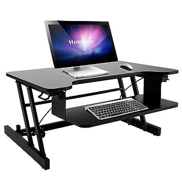 Qulista Höhenverstellbarer Sitz Steh Schreibtisch Klappbar Tischaufsatz  Laptop Ständer Schreibtisch, Abnehmbare Tastaturablage