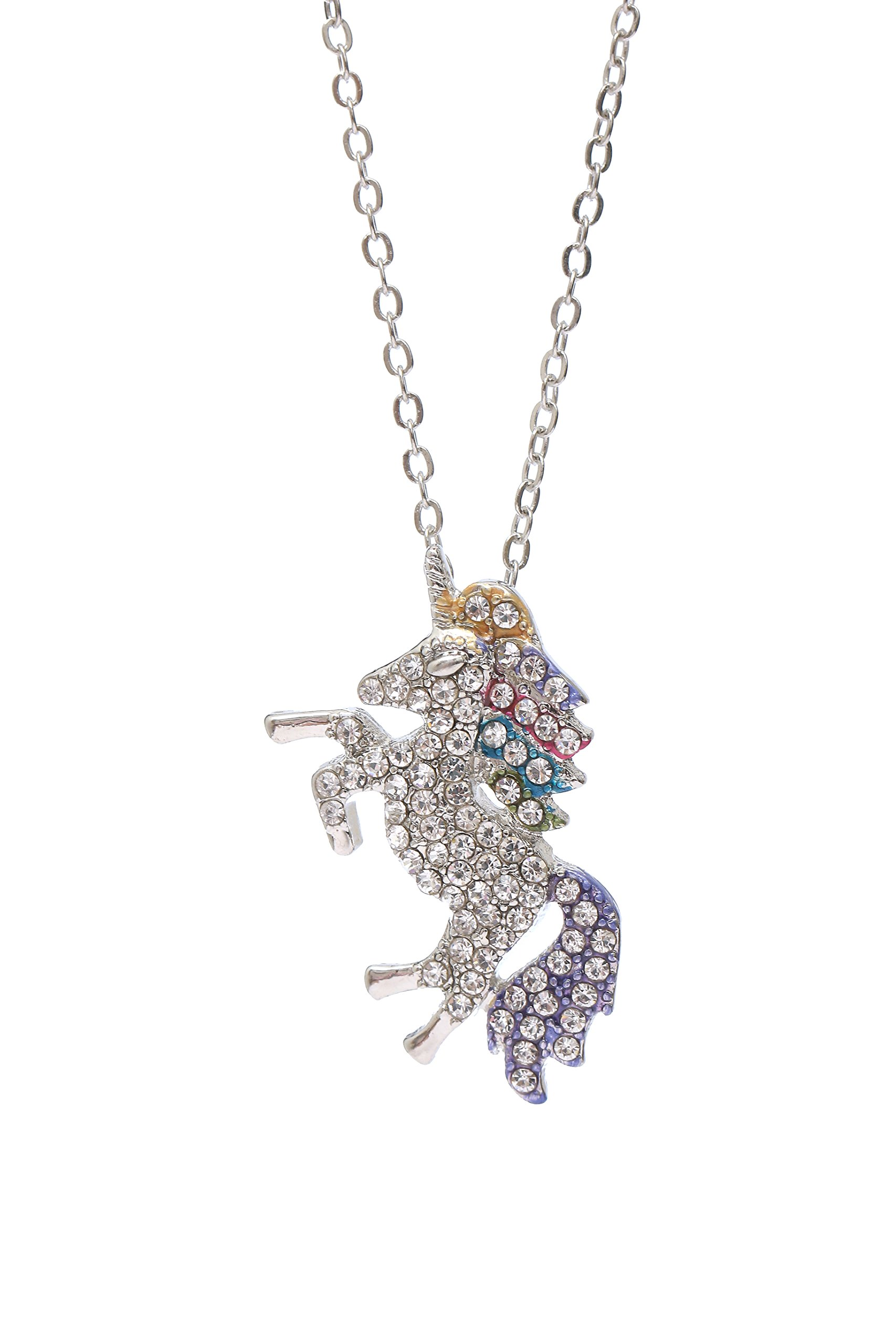 MUHU Fashion Rainbow Rhinestones Unicorn Pendant Necklace 3