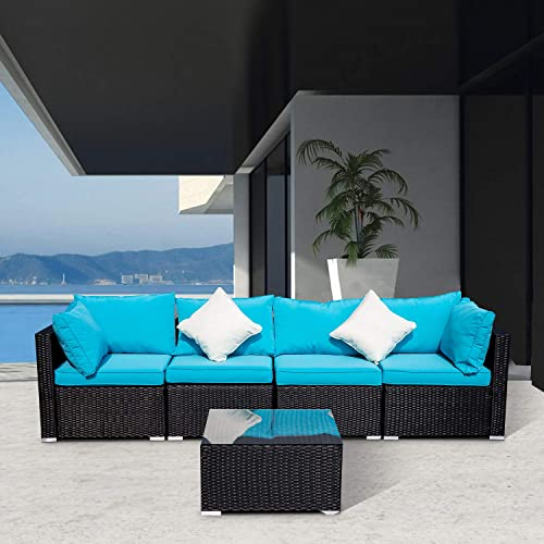 DOIT Outdoor Rattan Patio Garden Sofa,Wicker Patio Sectional Furniture Sofa Outside,Party Sofa Conversation Set with Cushions and Glass Coffee Table 5 Pcs Wicker Sofa Sets Blue