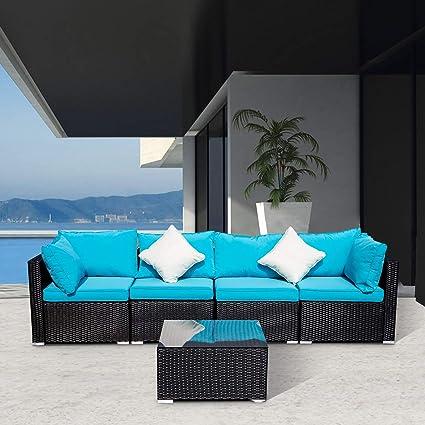 Amazon.com: DOIT - Sofá de jardín de ratán para exteriores ...