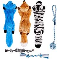 Toozey Squeaky Dog Toys No Stuffing, 6 Pack Dog Toys Small Dogs, Durable Plush Puppy Toys, 100% Natural Cotton Ropes…