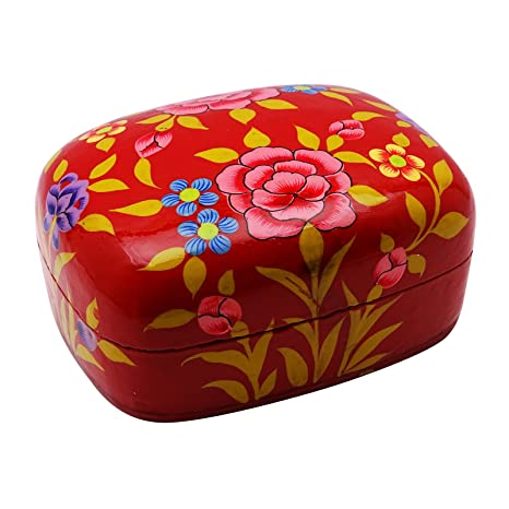 Mano floral pintado la baratija de la joyería caja de regalo de papel cartón piedra Cachemira