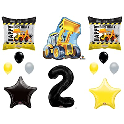2nd BIRTHDAY CONSTRUCTION Balloons Decoration Supplies Party Boy Dump Truck Bulldozer Second: Everything Else
