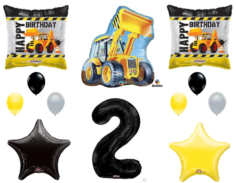 2nd BIRTHDAY CONSTRUCTION Balloons Decoration Supplies Party Boy Dump Truck Bulldozer Second Amscan