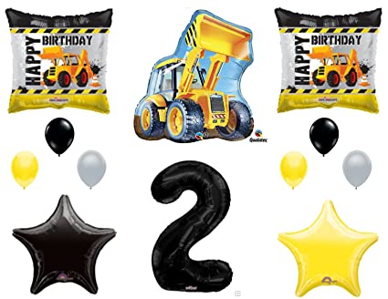Amazon 2nd BIRTHDAY CONSTRUCTION Balloons Decoration Supplies Party Boy Dump Truck Bulldozer Second Everything Else
