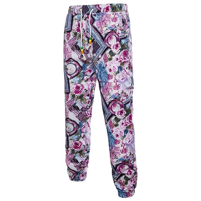 Zhhlaixing Hombres Cómodo Transpirable Lino Casual Deportes Pantalones Plus Size Fashion Printing Loose Trousers para Adolescentes