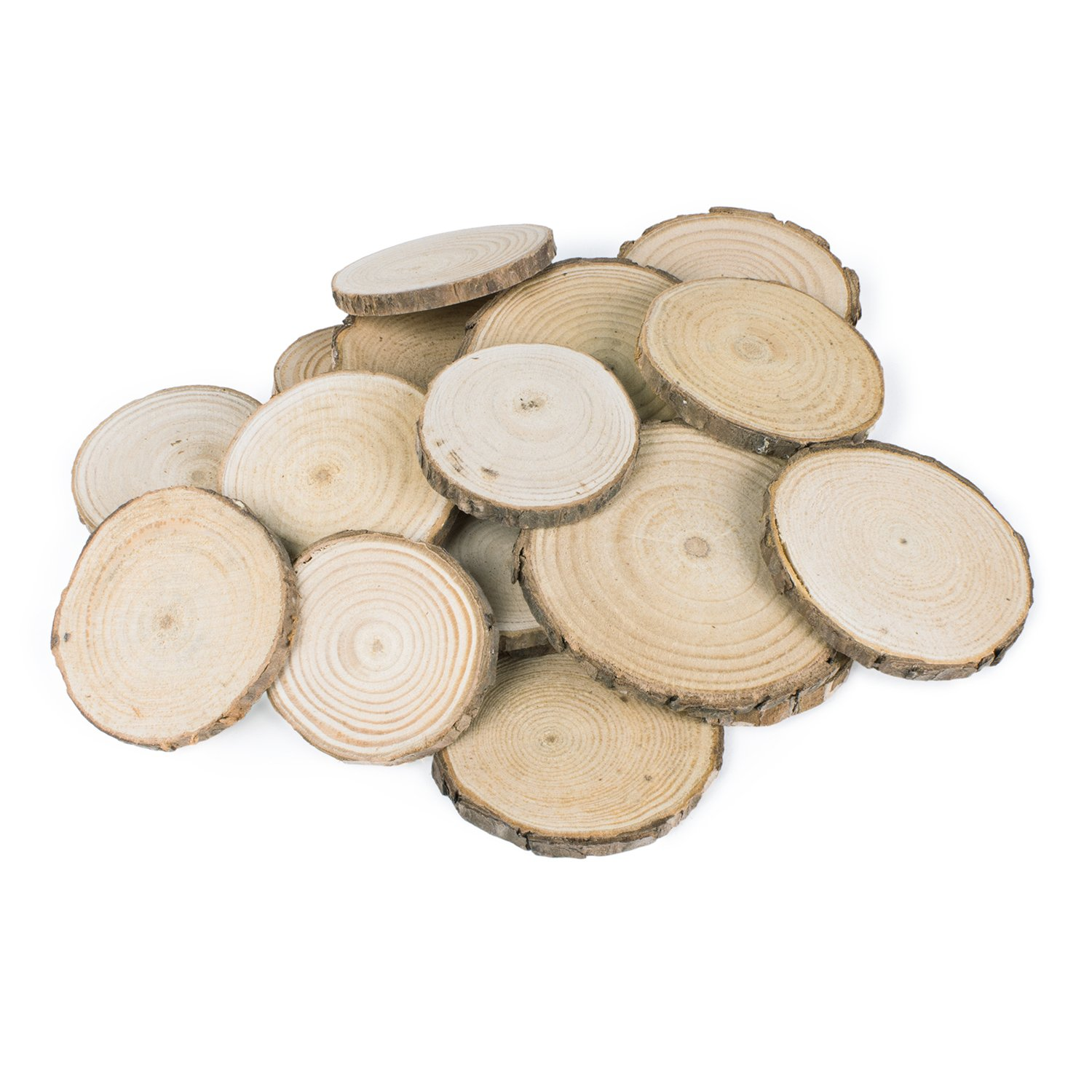 Mini Assorted Size Natural Color Tree Bark Wood Slices Round Log Discs for