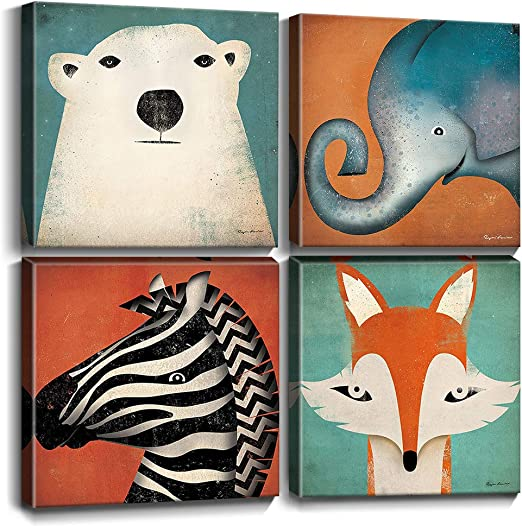 Amazon Com Toddler Wall Decor Cartoon Animals Canvas Prints Wall Art For Kids Room Home Decoration Cute Polar Bear Elephant Fox Zebra Painting Pictures Boys Room Framed Artwork Bedroom Bathroom 12x12 Inch 4pcs,What Colour Is Orange Fruit