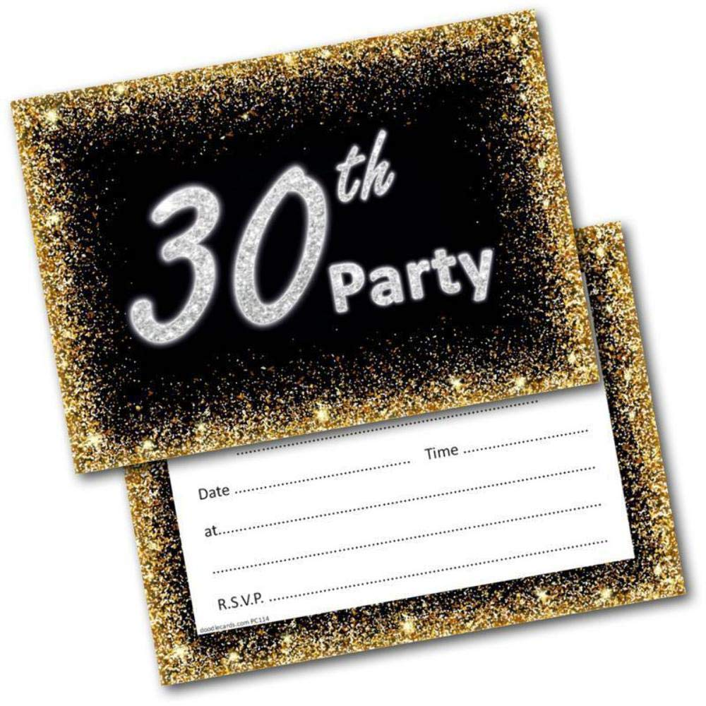 30th Birthday Party Invitations Age 30 Male Mens Female Womens Pack 20 Invites