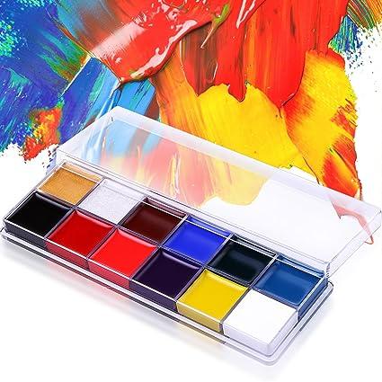 De Lanci Face Paint Palette Professional 12 Colors Facial Painting Makeup Kit Oil Art Painting Art Party Paint Set Make Up Palette