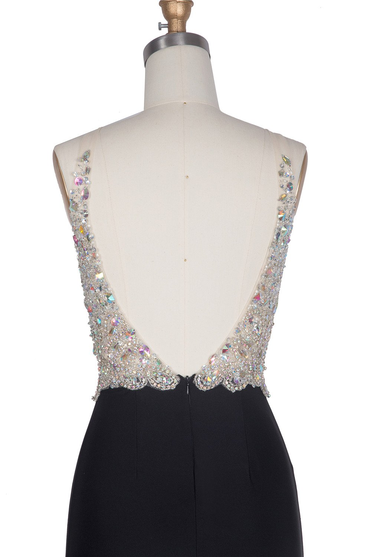 Miss Chics Women Side Slit V-neck Backless Beaded Prom Dresses Evening Dresses(10,Black) by Miss Chics (Image #6)
