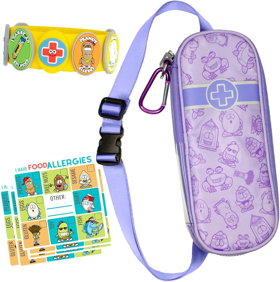 AllerMates Deluxe Kids Medical Health and Safety Bundle Including Carrying Case for EpiPen or Auvi-Q,, I Have Allergies Multi-Charm Medic Alert Allergy Awareness Bracelet, and 2