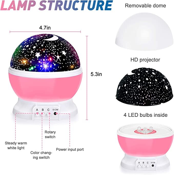 4 LED Bulbs 8 Color Changing Light Moon Star Projector 360 Degree Rotation Unique Gifts for Birthday Nursery Women Children Kids Baby Romantic Night Lighting Lamp Baby Night Lights