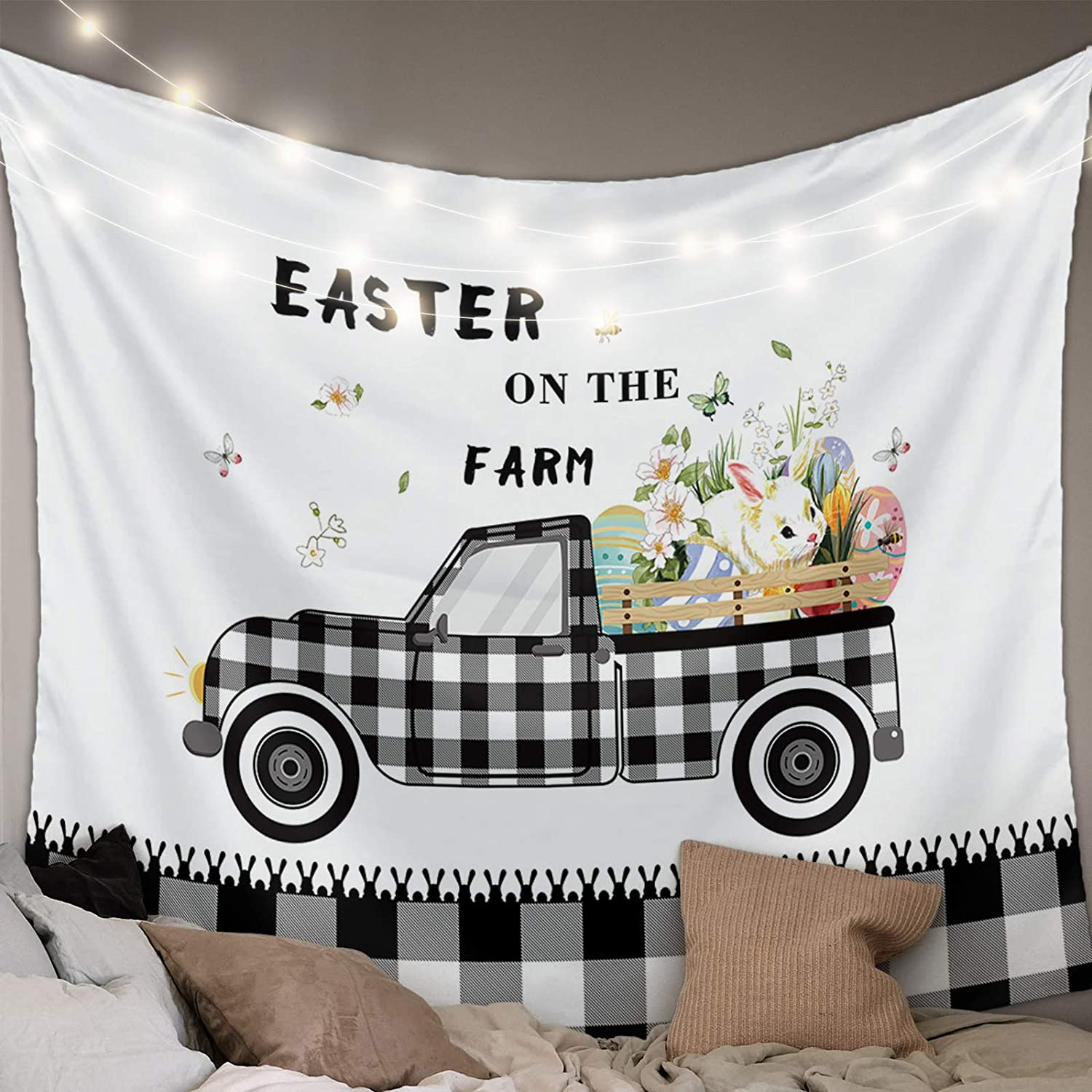 Advancey Wall Hanging Bedding Tapestry Happy Easter Farm Egg Naive Bunny Black White Buffalo Plaid Truck Tapestry Wall Decor Blanket Bedspread Picnic Sheet Room Dorm Home Decor- 39''x59''