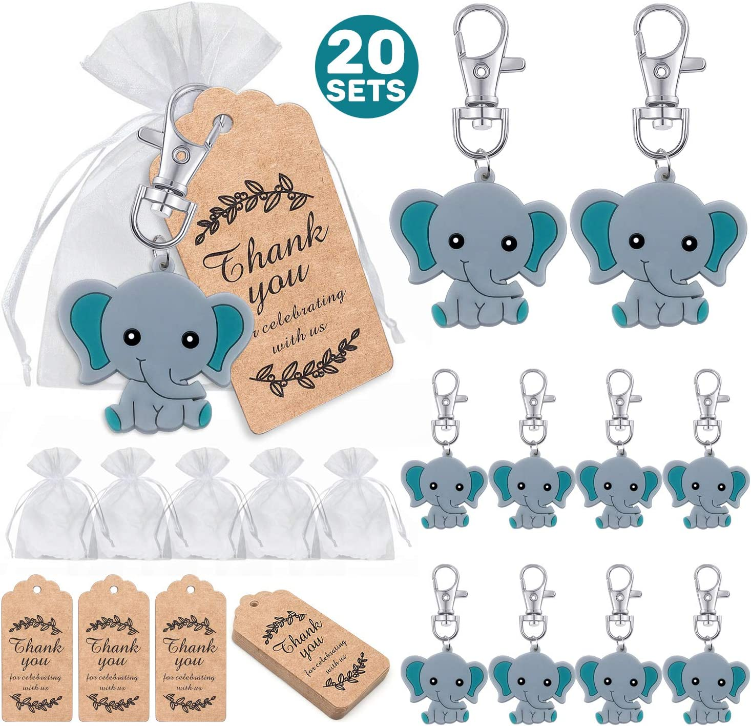 MOVINPE 20 Pcs Baby Shower Return Favors for Guests, Blue Baby Elephant Keychains + Organza Bags + Thank You Kraft Tags for Elephant Theme Party Favors, Boys Kids Birthday Party Supplies