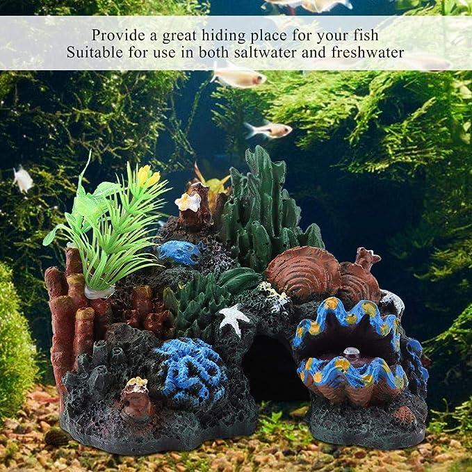 Aquarium Ornament Mountain View Rockery Cave Fish Tank Decoration Landscape B XI