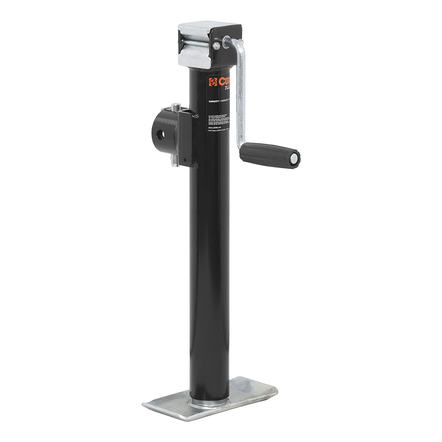 CURT 28324 Weld-On Pipe-Mount Swivel Trailer Jack 2,000 lbs 15 Inches Vertical Travel