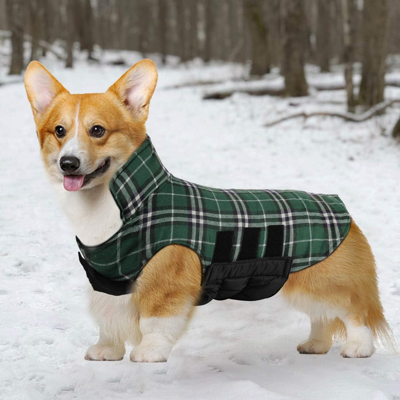 Dog Jacket Dog Coats Waterproof Windproof Warm Reversible British Style Plaid Dog Vest Jacket for Winter Outdoor Small Medium Large Dogs