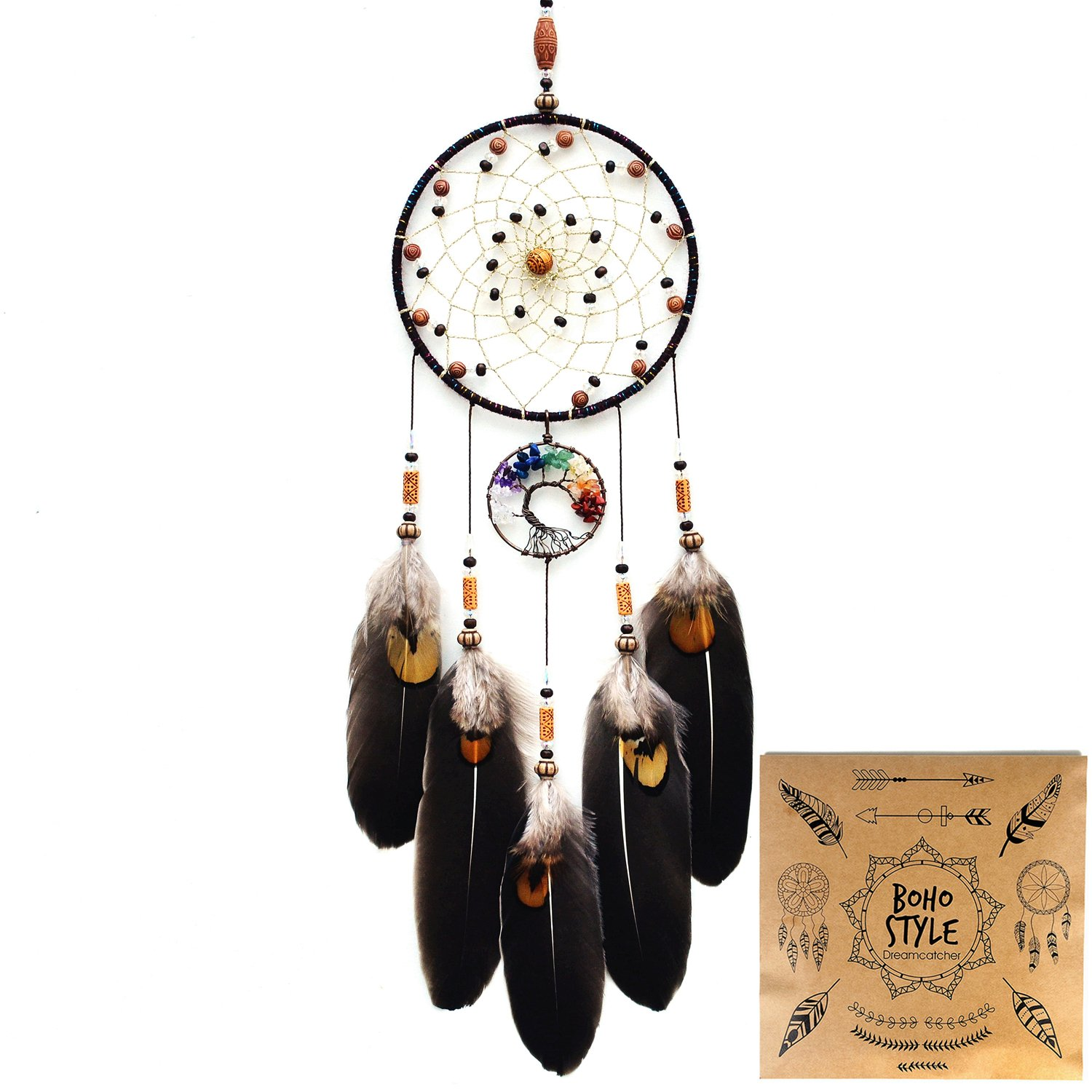 Littlear Dream Catcher Handmade Tree of Life Dream Catchers with Feathers Wall Hanging Home Decor Dia 5.1''(NO.12)