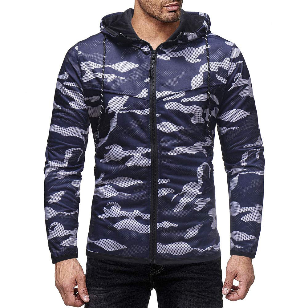Corriee Fashion Tops for Men Stylish Camouflage Print Long Sleeve Cool Hoodies Mens Full Zip Autumn Casual Coat Blouse