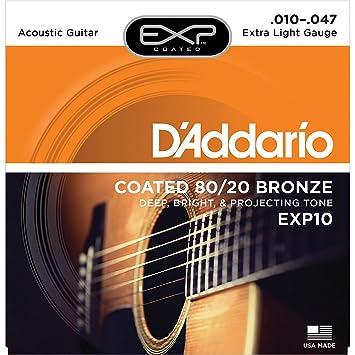 DAddario EXP10 - Juego de cuerdas para guitarra acústica de bronce y revestido en