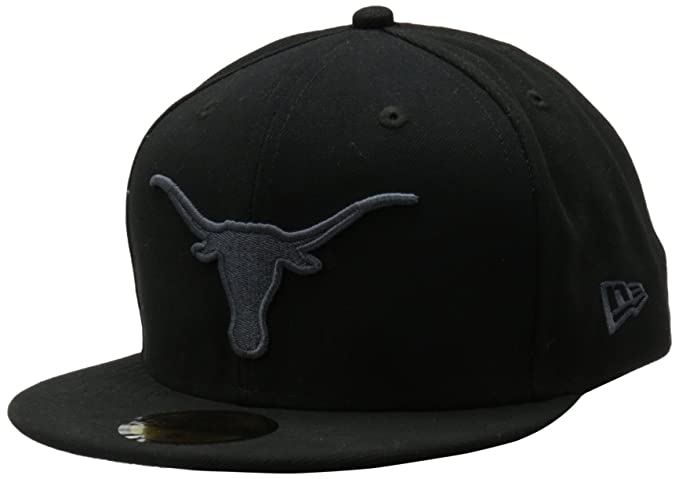 the latest 012a3 49cb1 NCAA Unisex Adult Texas Longhorns Black Gray 59Fifty Fitted Cap (Black Gray,  678