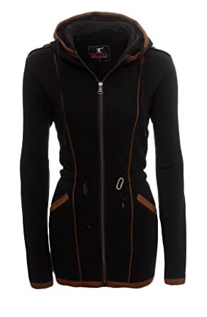 Be Cool Damen Übergangsjacke Herbst Winter Zipper Lang Sweatjacke Kapuzen Jacke Mantel BC 1510B