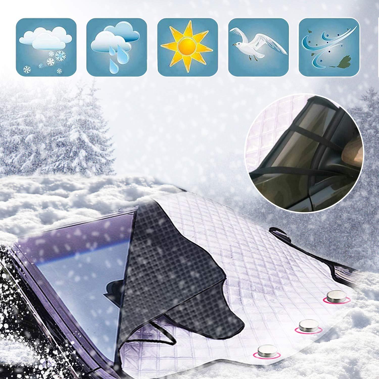 Cubierta para hielo y nieve para autos 193*157*126CM 3 Imanes invisibles Sombra Parabrisas Ventana delantera Limpiaparabrisas antirrobo Polvo escarcha escarcha Cubierta para hielo HAODELE