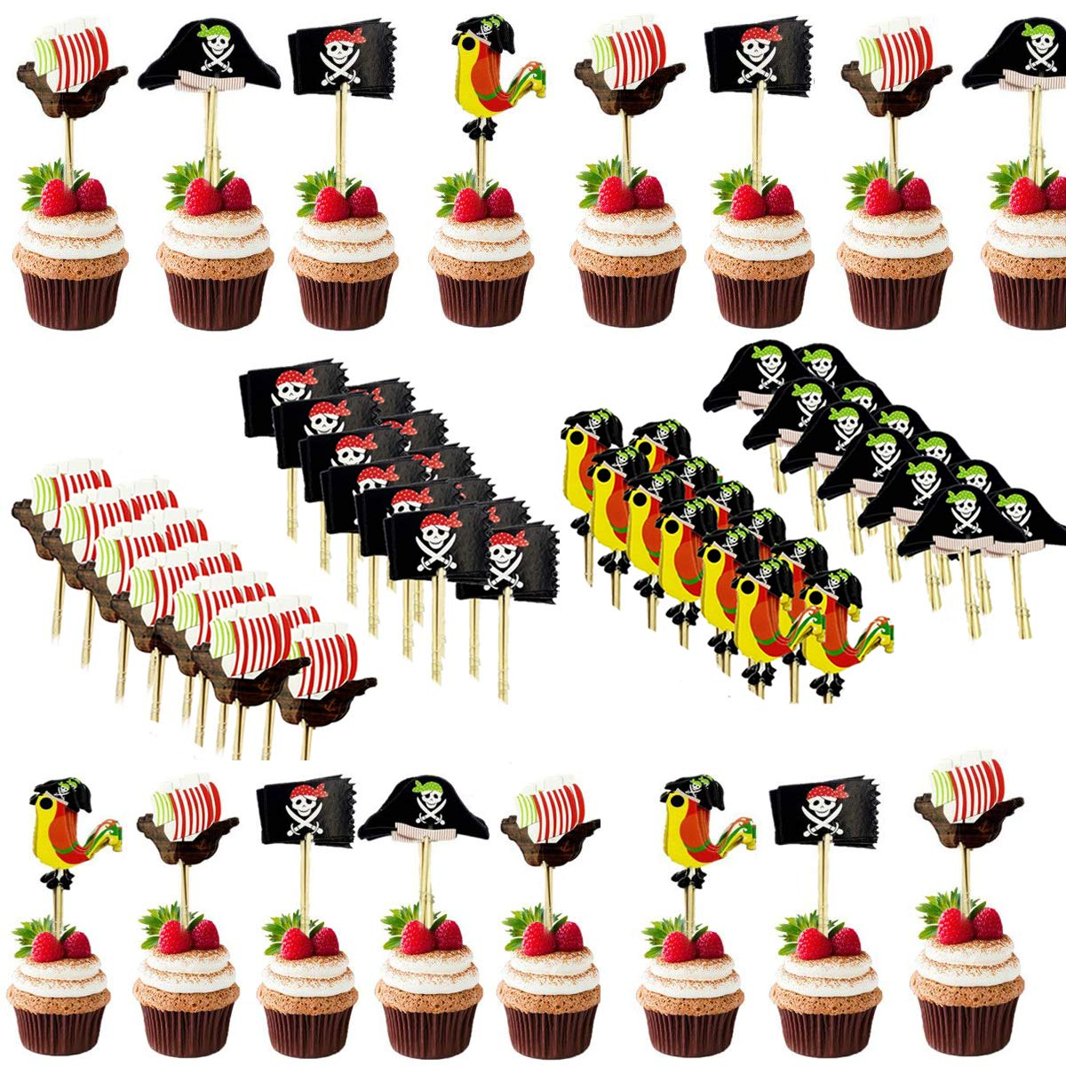 BESTZY 120PCS Cupcake Toppers Pirate Decorations Pirate Toothpicks Food Picks for Boy's Birthday Party Baby Shower Baby First Birthday Party Halloween Decorations