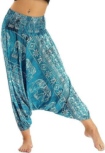Nuofengkudu Mujer Pantalones Hippies Cintura Alta Bohemios Patrones Sueltos Tailandeses Casual Yoga Pants Playa Azul Eleventiladorte B Amazon Es Ropa Y Accesorios