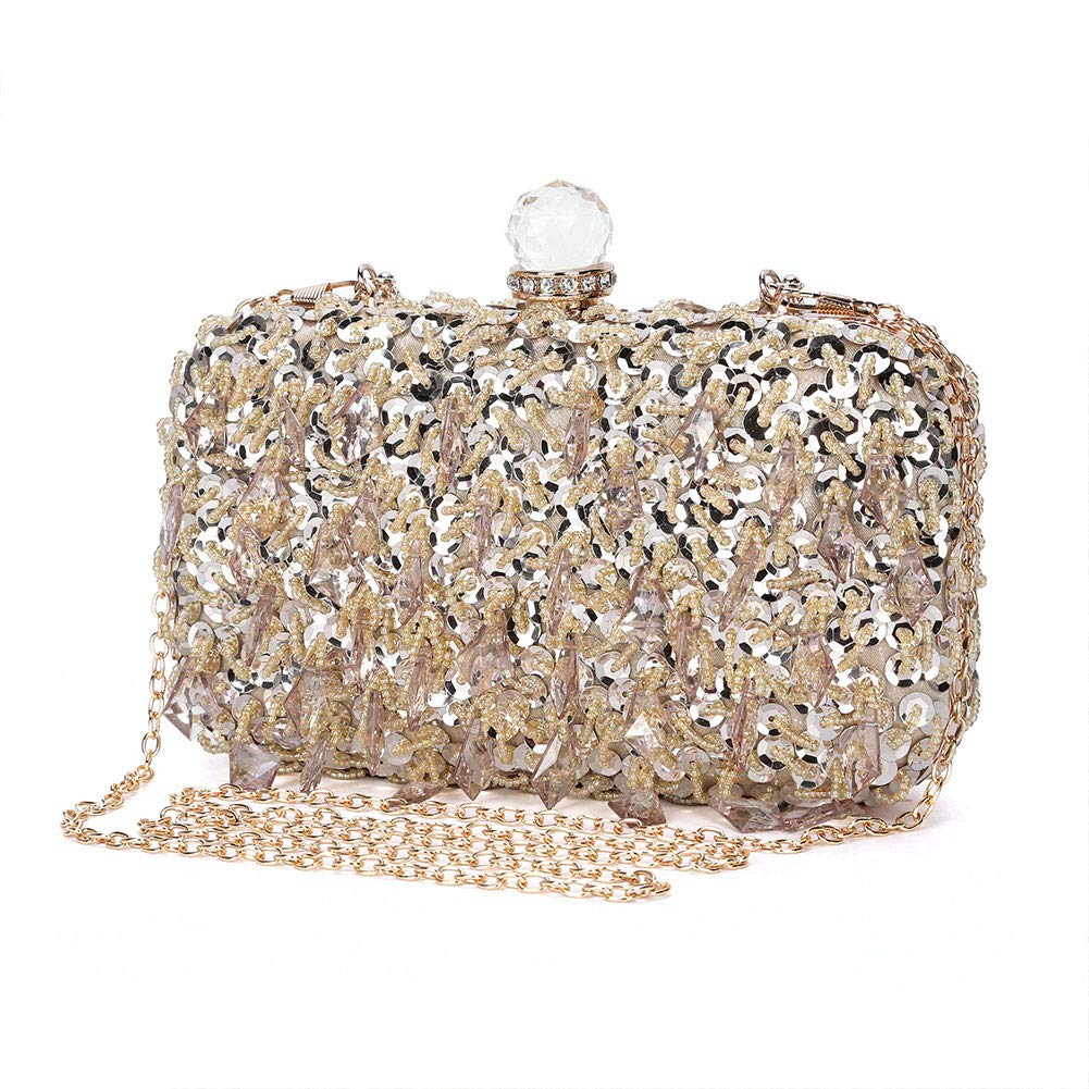 cab907cf3b192 UBORSE Women Wedding Clutch Rhinestone Bling Sequin Evening Bags Vintage  Crystal Beaded Cocktail Party Party Purse Gold: Handbags: Amazon.com