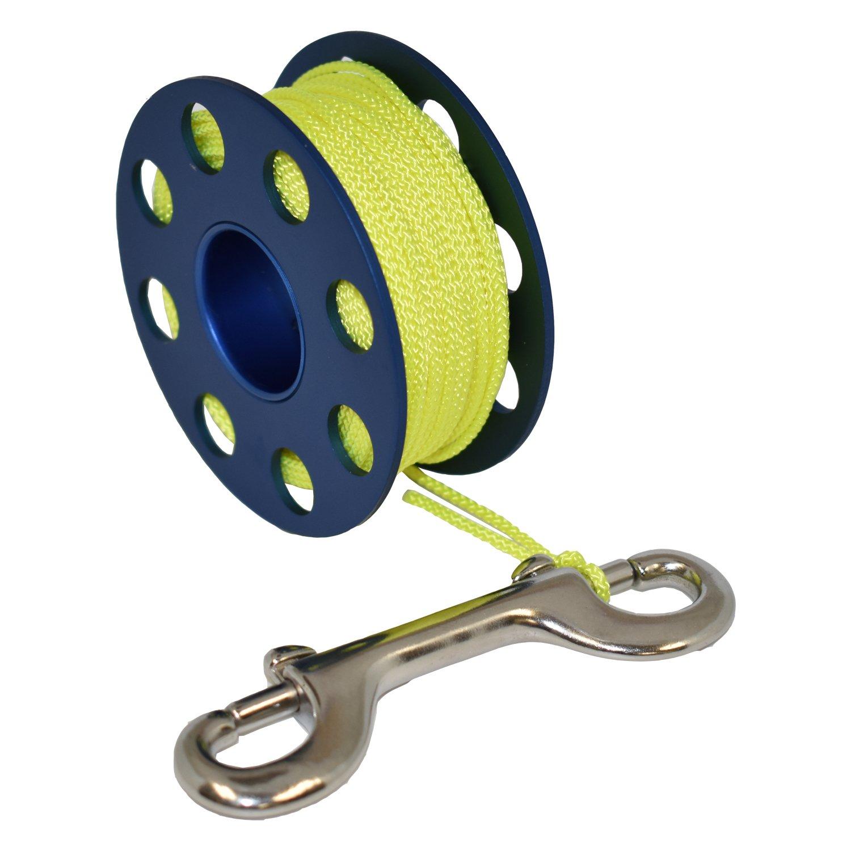 Scuba Choice Aluminum Finger Spool 75ft Dive Reel w/Bolt Snap-Blue/Yellow