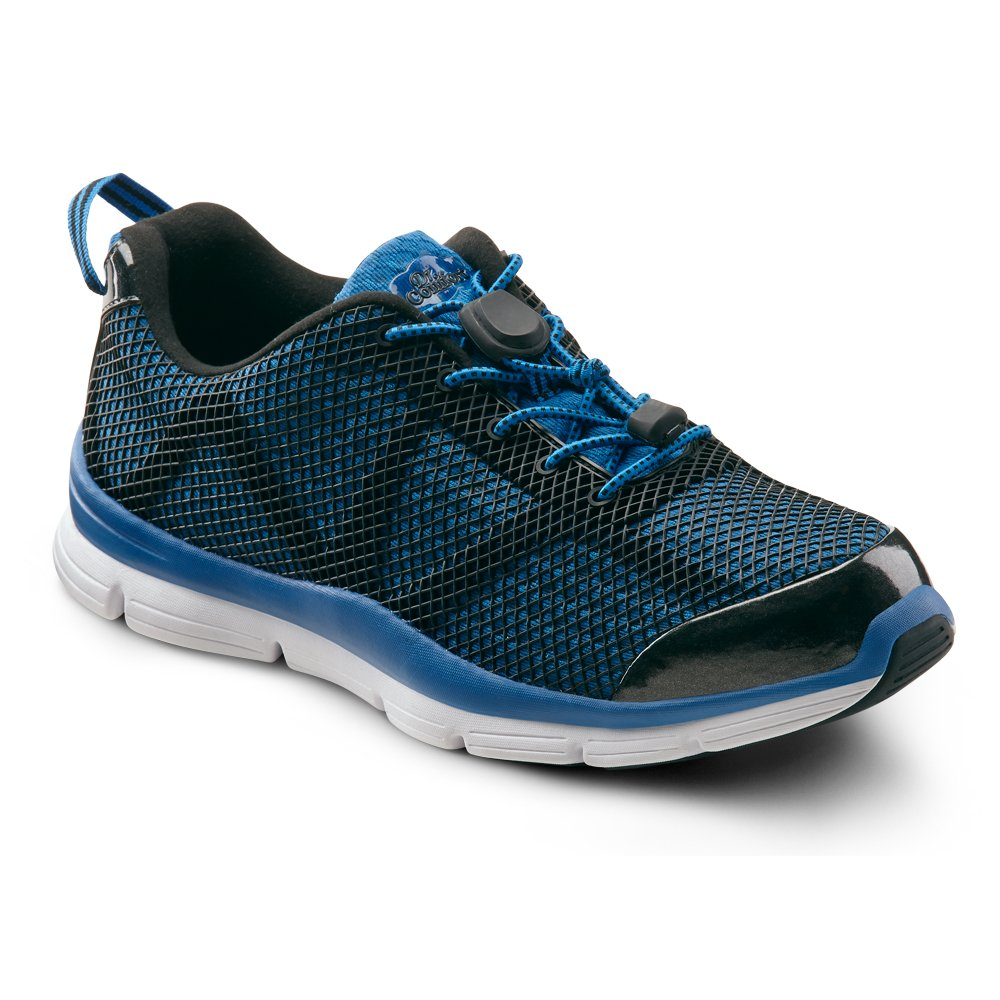 bluee Dr. Comfort Jason Men's Therapeutic Extra Depth Athletic shoes Leather-and-Mesh Lace Black