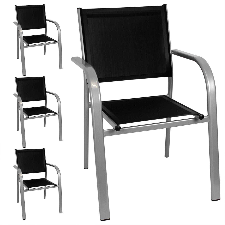 4x Stapelstuhl Gartensessel Gartenstuhl Stapelsessel Bistrostuhl - Aluminiumgestell, 2x1 Textilenbespannung, stapelbar, Grau/Schwarz - Gartenmöbel Terrassenmöbel Balkonmöbel Bistromöbel