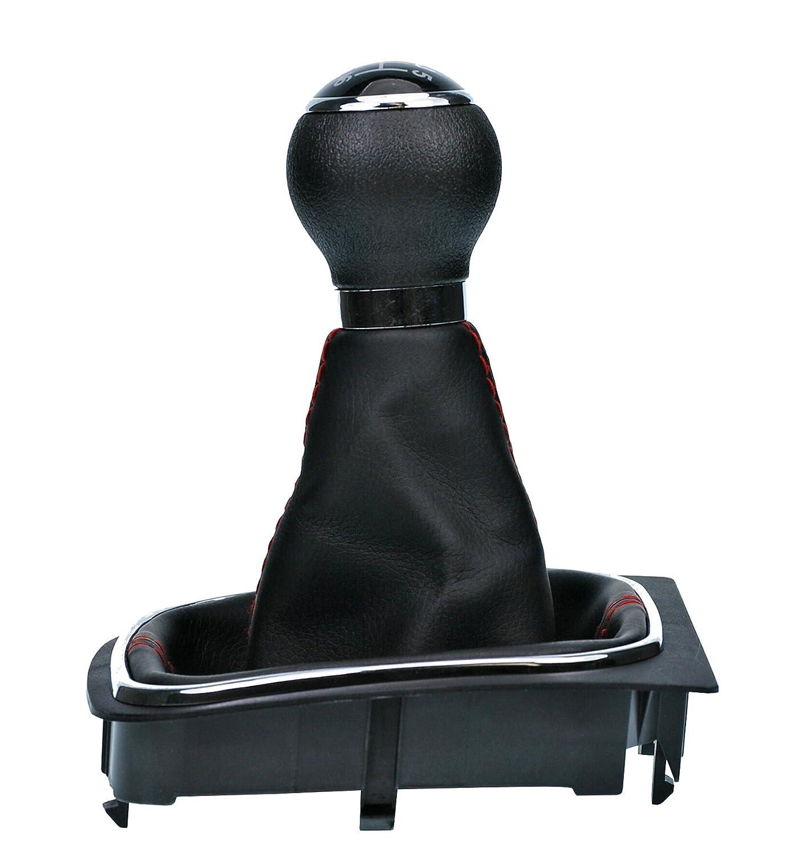 L&P Car Design GmbH A256-1 Funda para Palanca de Cambio con Costura Roja con Pomo y Marco: Amazon.es: Coche y moto