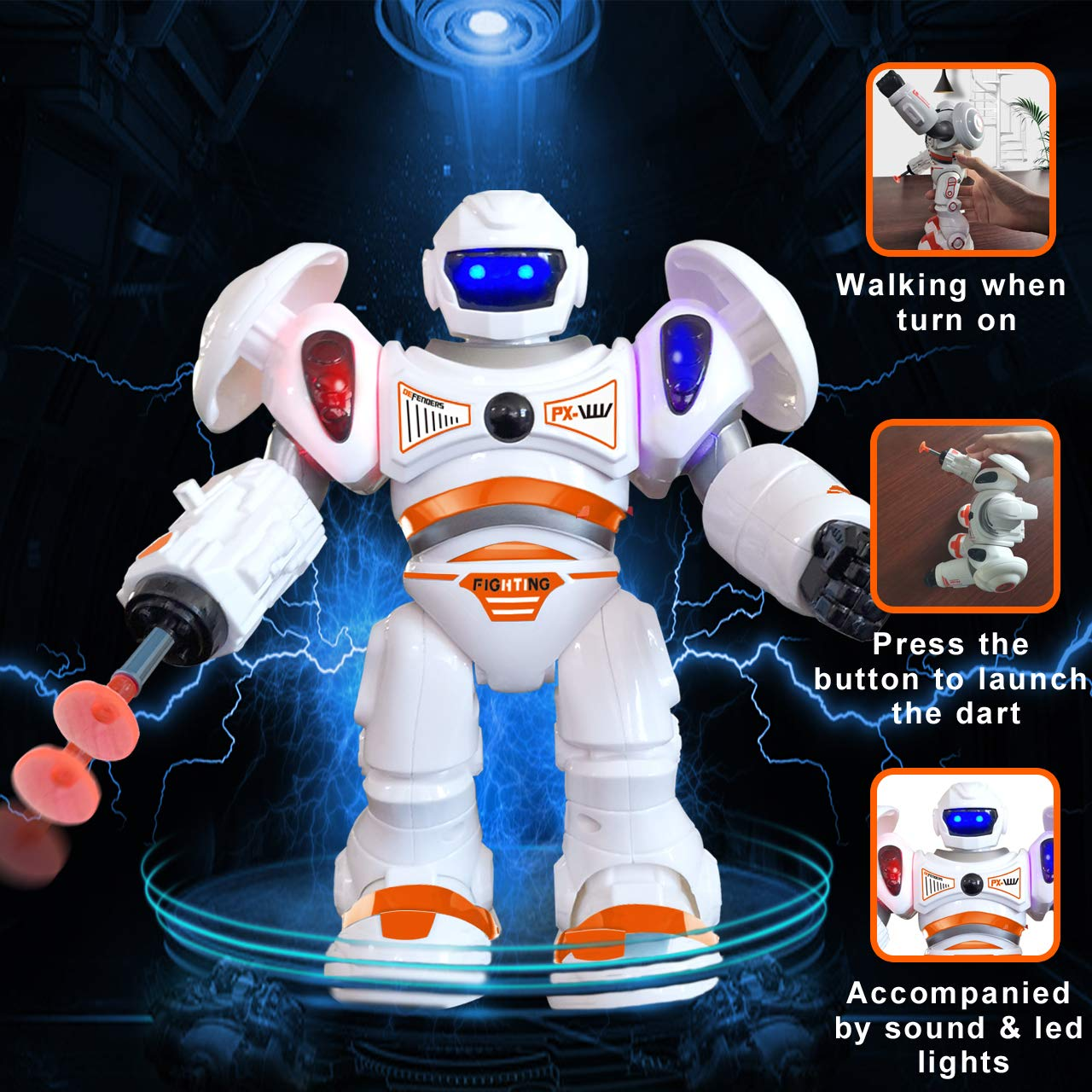 Robot Toys with Flexible Arm Blue Gifts2U Robots for Kids Sound /& Blue Red led Eyes Shoulder Robots for Boys with Launch Toy Darts Educational Toys for Kids 3 4 5 and Up Birthday