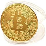 TWIFER Gold überzogene Bitcoin Münze Sammlerstück BTC Münze Kunst Sammlung Physikalisch (38mm, Gold)