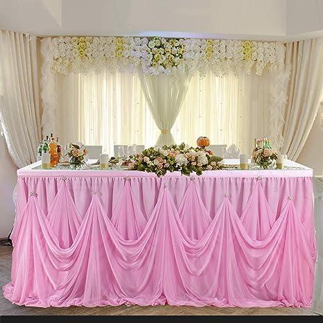 Amazon Com Leegleri 9ft Pink Tulle Tutu Table Skirt For Rectangle