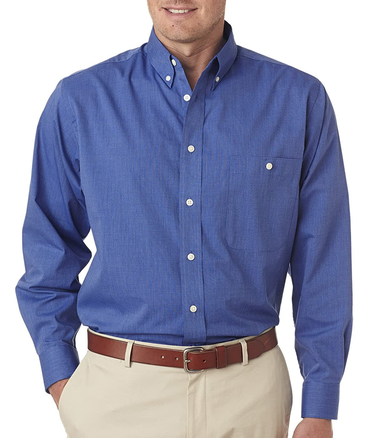 UltraClub Mens Wrinkle-Free End-On-End Solid Dress Shirt