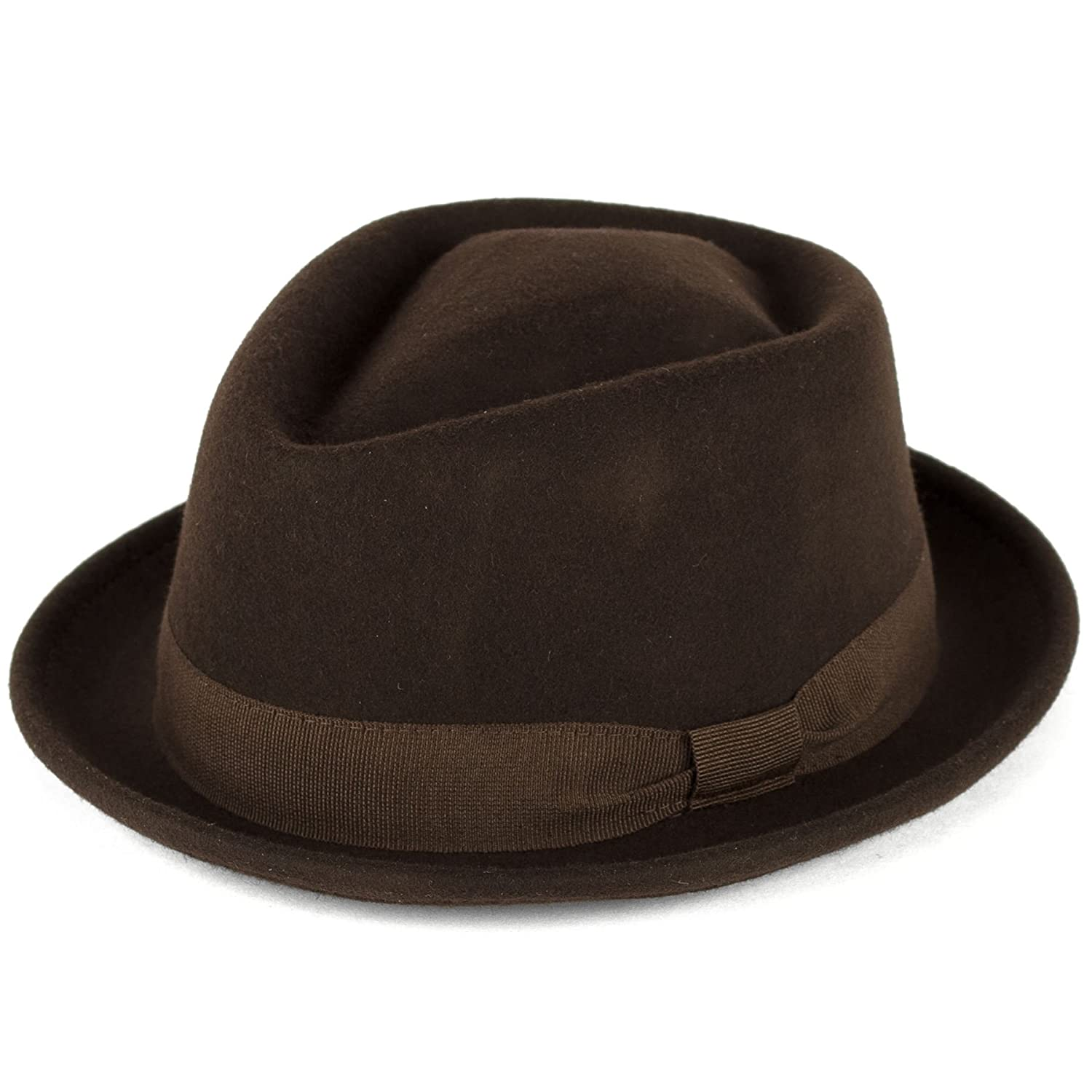 a07353a36c3 Amazon.com  Wool Diamond Shaped Pork Pie Hat Waterproof   Crushable  Handmade in Italy  Clothing