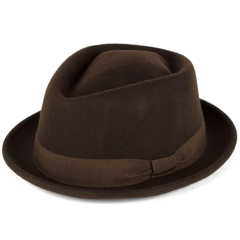 344c4bc3819 Amazon.com  Wool Diamond Shaped Pork Pie Hat Waterproof   Crushable  Handmade in Italy  Clothing