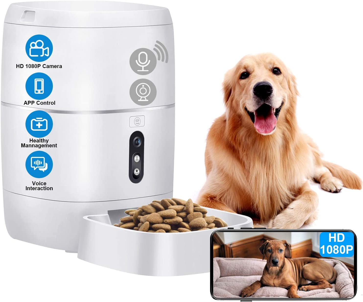 LeeKooLuu Q01 HD 1080P Camera WiFi Smart Feeder 6L Automatic Cat Feeder Automatic Dog Feeder Timer Programmable Voice and Video Recording Enabled App for iPhone and Android