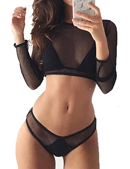 344e3766b1a Amazon.com: Womens Sexy Mesh Long Sleeve Swimsuits 3 Pcs Bikini Beach  Swimwear Bathing Suits: Clothing