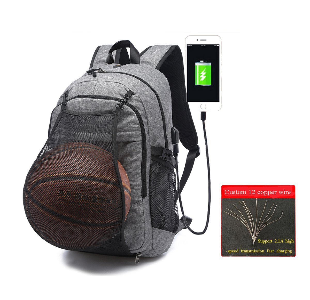 Laptop Sports Backpack, Durable Outdoor Travel Basketball Backpack – Soccer Backpack with USB Charging Port, Water Resistant College School Backpack, Gym Bag for Women Men, Fit 17.3 Laptop