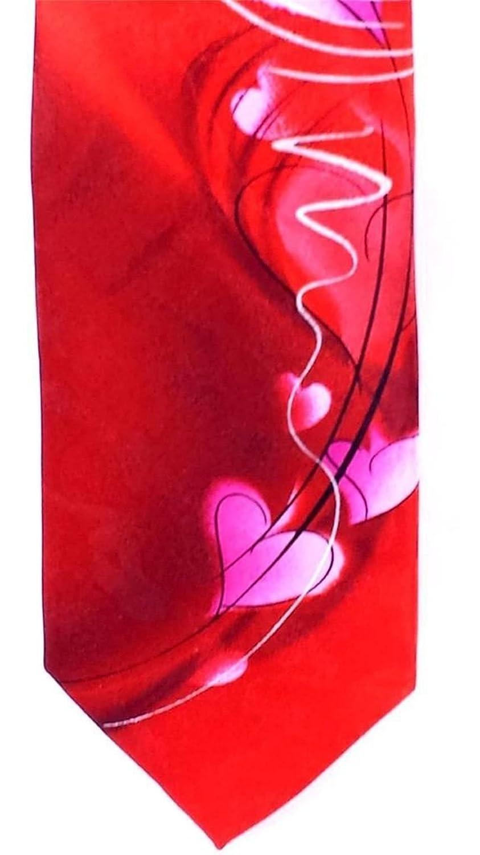 Jerry Garcia Mens Pure Silk Designer Tie Abstract Watercolor Red Hearts