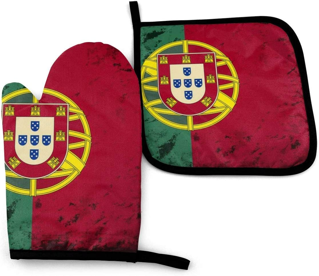 Portuguese Flag Oven Mitts and Pot Holders Set,Heat Resistant Gloves /& Potholder for Cooking,Baking,Grilling,Serving,BBQ