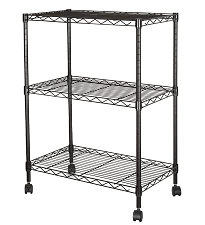 HollyHOME 3 Tier Storage Shelf With Wheels, Rolling Wire Shelving Rack,  Adjustable Steel Utility