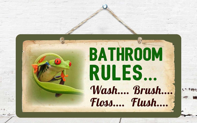 "Bathroom Rules Wash Brush Floss Flush Frog Sign Plaque Bath Decor 5/""x10/"""
